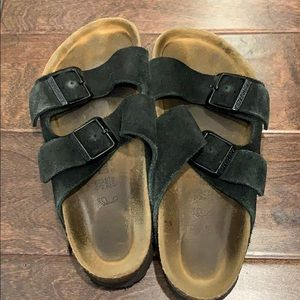 Black suede Birkenstock sandals